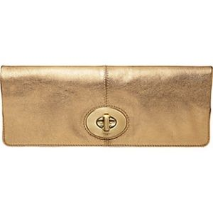 Coach Bags - Coach Gold metallic fold over Madison clutch GUC